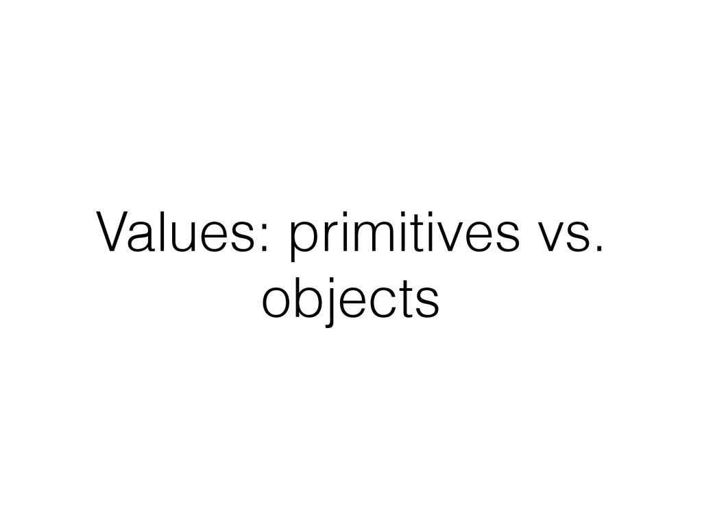 Values: primitives vs. objects
