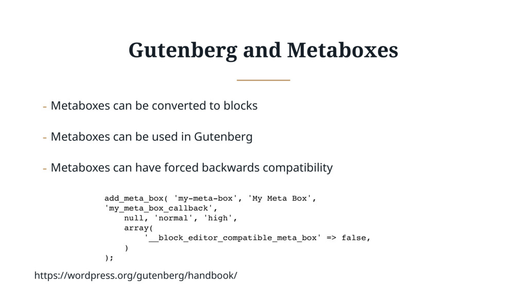 Gutenberg and Metaboxes - Metaboxes can be conv...