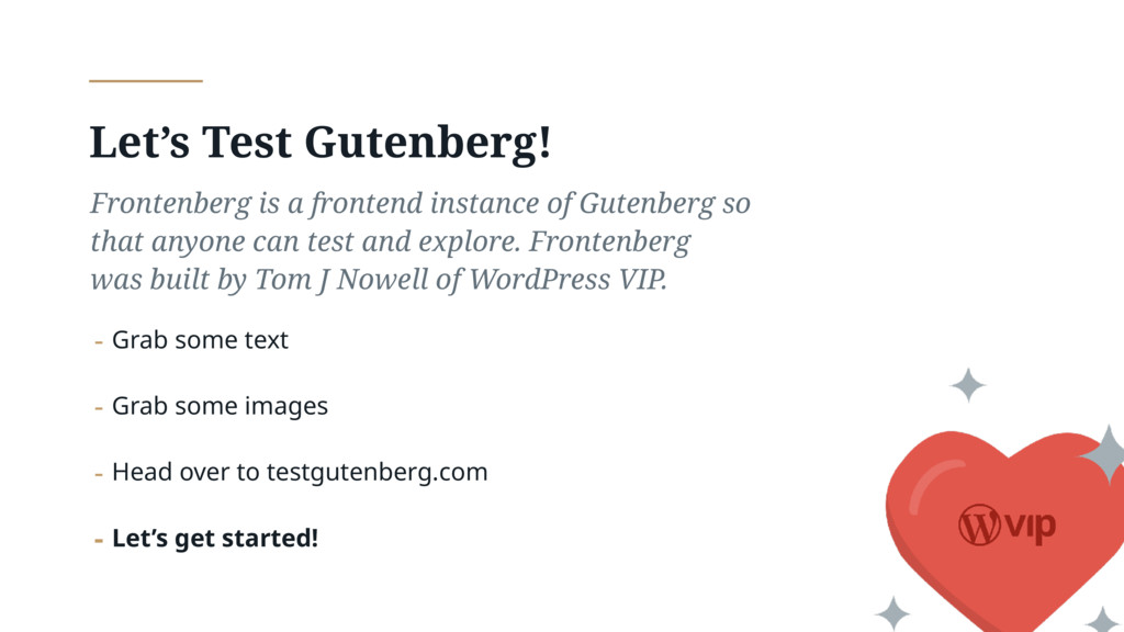Let's Test Gutenberg! Frontenberg is a frontend...