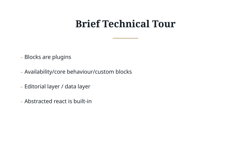 Brief Technical Tour - Blocks are plugins - Ava...
