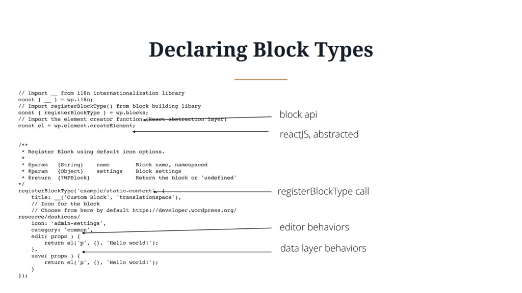 Declaring Block Types // Import __ from i18n in...