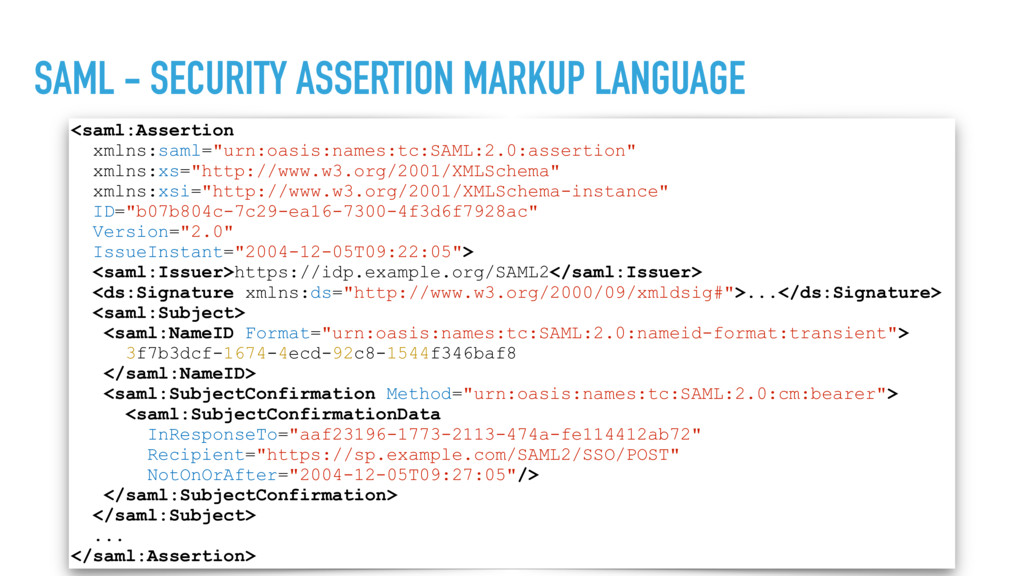 SAML - SECURITY ASSERTION MARKUP LANGUAGE <saml...