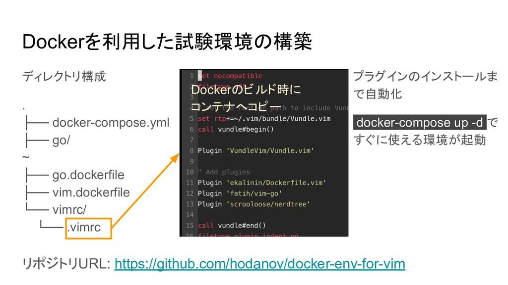 Dockerを利用した試験環境の構築 ディレクトリ構成 . ├── docker-compos...