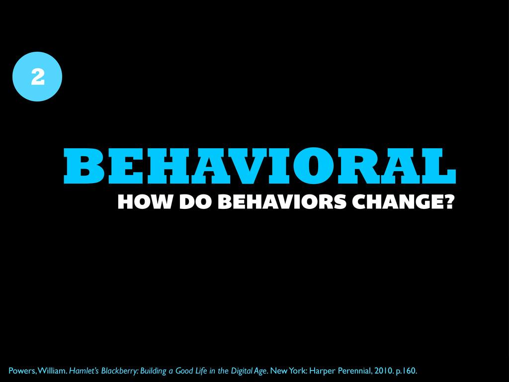 BEHAVIORAL 2 HOW DO BEHAVIORS CHANGE? Powers, W...