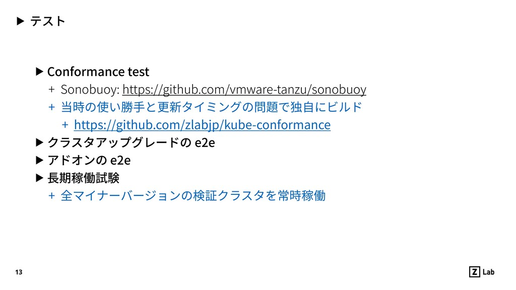 ▶ テスト ▶ Conformance test + Sonobuoy: https://gi...