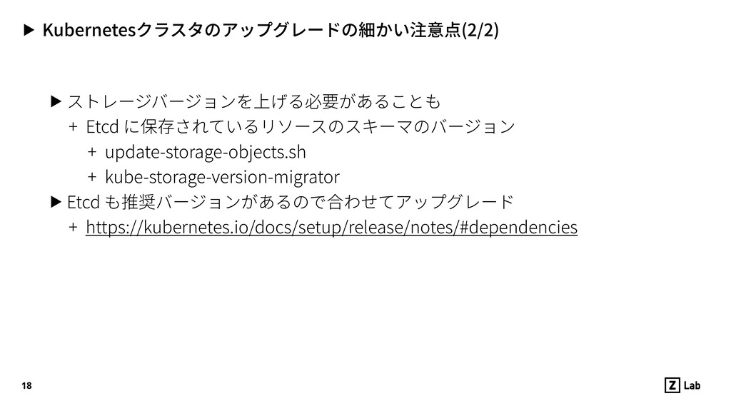 ▶ Kubernetesクラスタのアップグレードの細かい注意点(2/2) ▶ ストレージバージ...