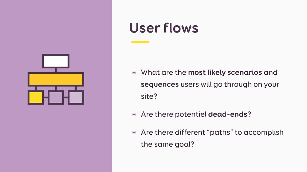 User flows ๏ What are the most likely scenarios...