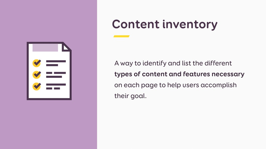 Content inventory A way to identify and list th...
