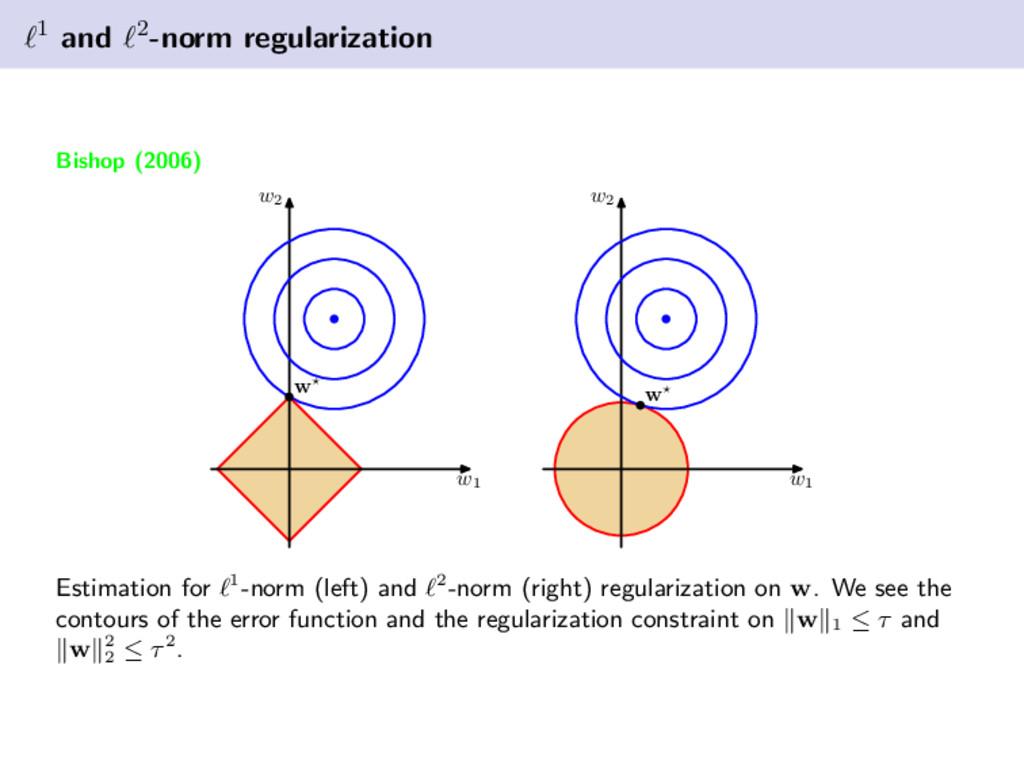 1 and 2-norm regularization Bishop (2006) w1 w2...
