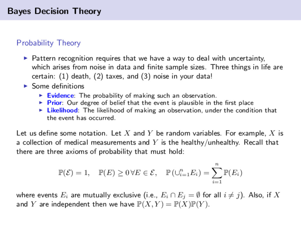 Bayes Decision Theory Probability Theory Patter...