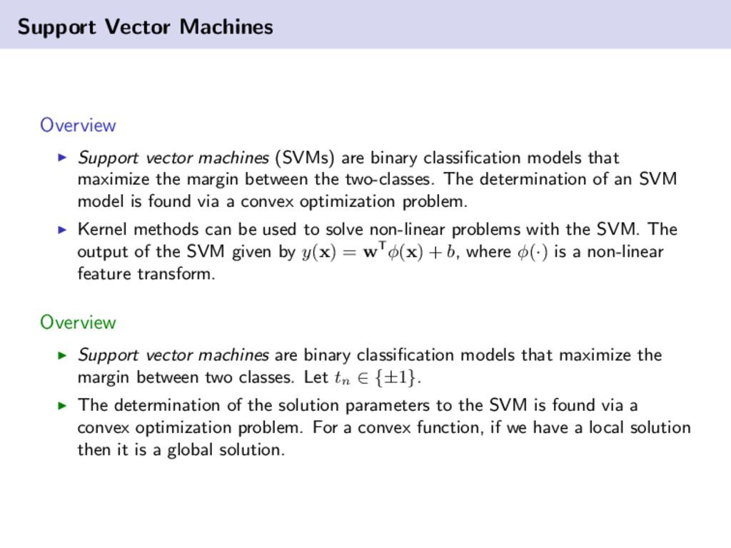 Support Vector Machines Overview Support vector...