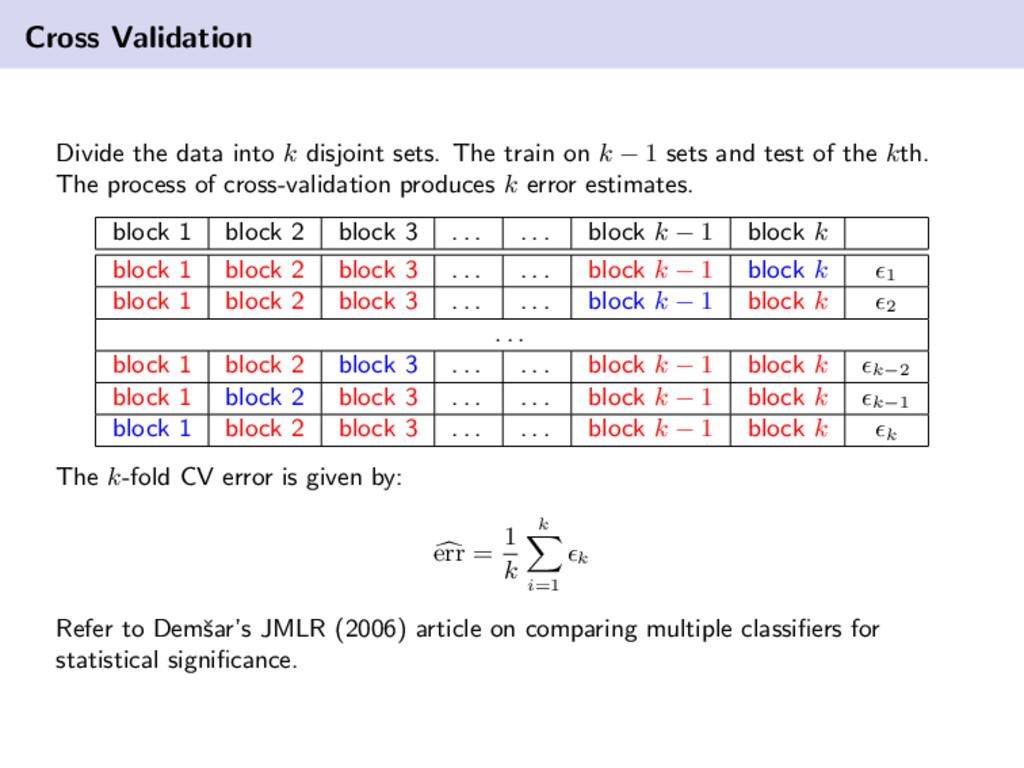 Cross Validation Divide the data into k disjoin...