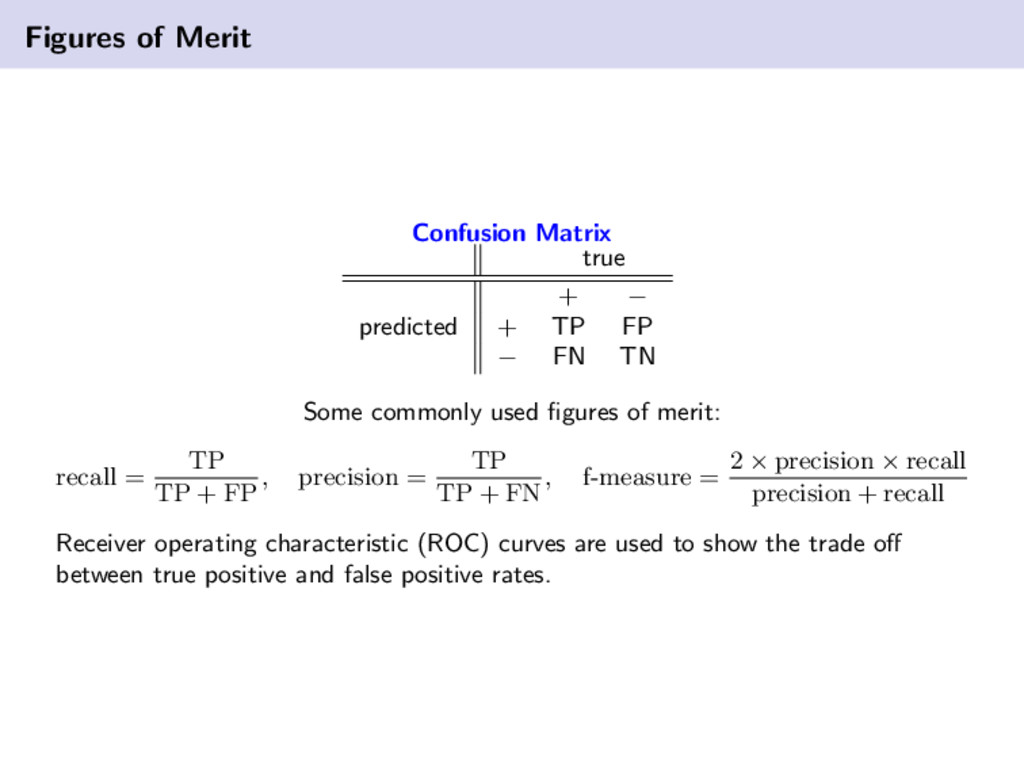 Figures of Merit Confusion Matrix true + − pred...