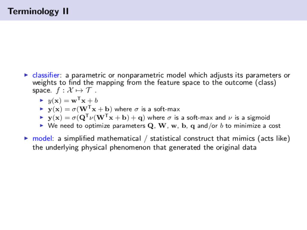Terminology II classifier: a parametric or nonpa...