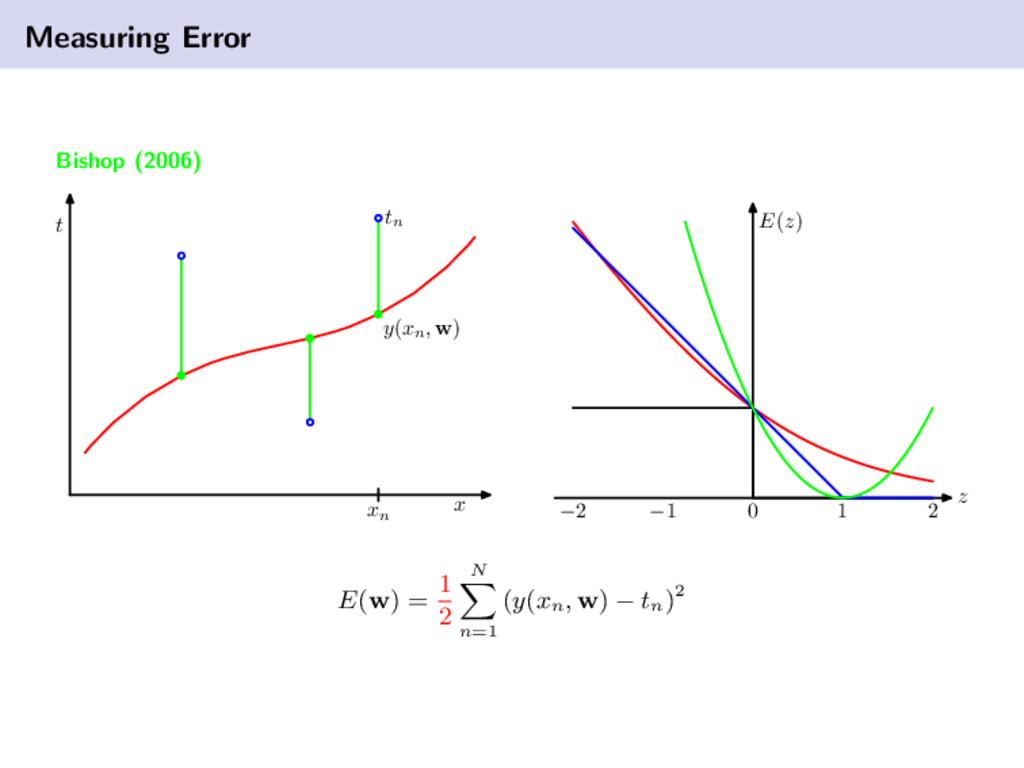 Measuring Error Bishop (2006) t x y(xn , w) tn ...