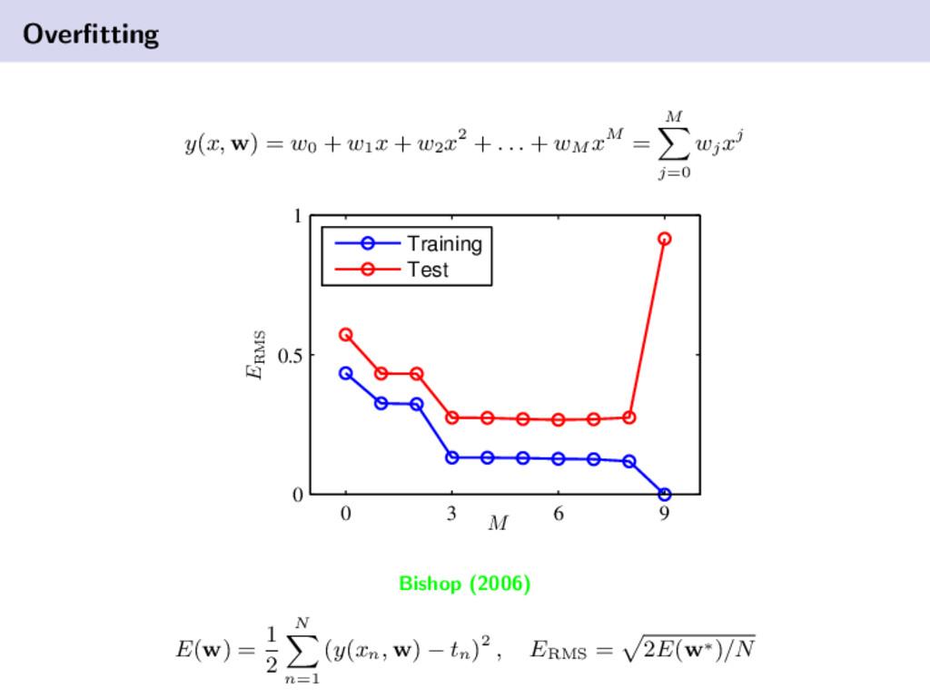 Overfitting y(x, w) = w0 + w1 x + w2 x2 + . . . ...