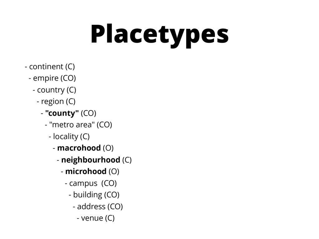Placetypes - continent (C) - empire (CO) - coun...