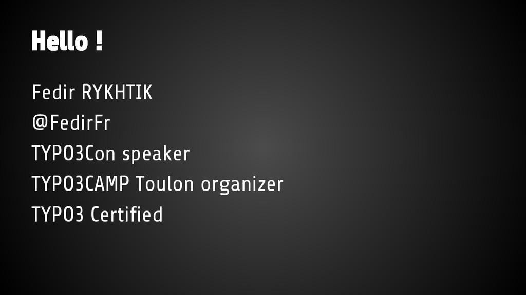 Fedir RYKHTIK @FedirFr TYPO3Con speaker TYPO3CA...