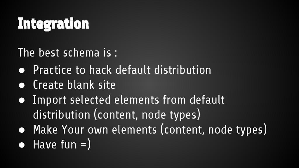 Integration The best schema is : ● Practice to ...