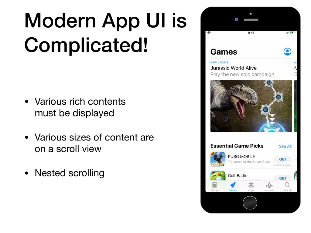 Modern App UI is Complicated! • Various rich co...