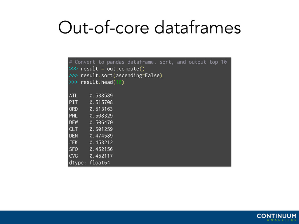Out-of-core dataframes # Convert to pandas data...