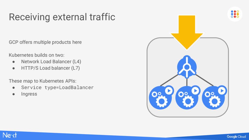 Receiving external traffic GCP offers multiple ...