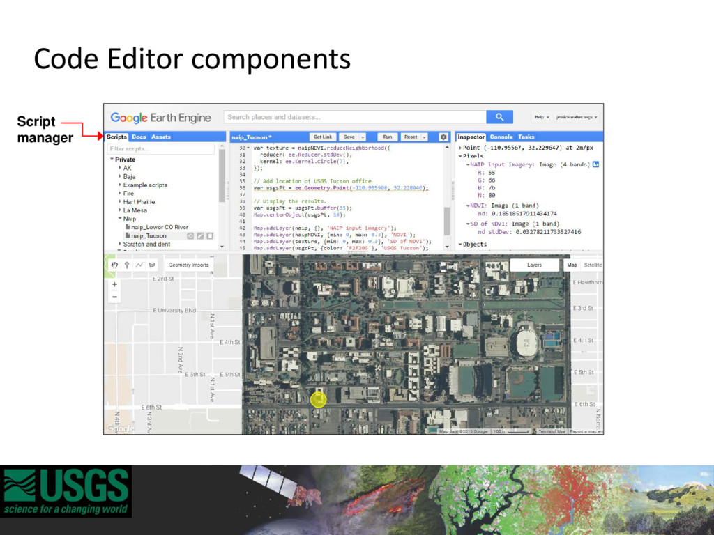 Script manager Code Editor components