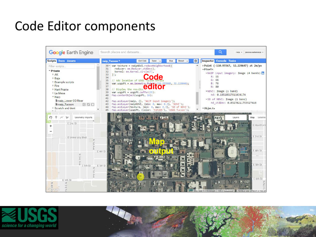 Map output Code editor Code Editor components