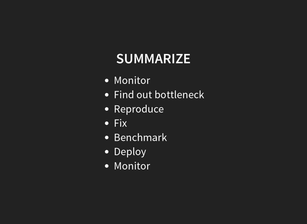 SUMMARIZE Monitor Find out bottleneck Reproduce...