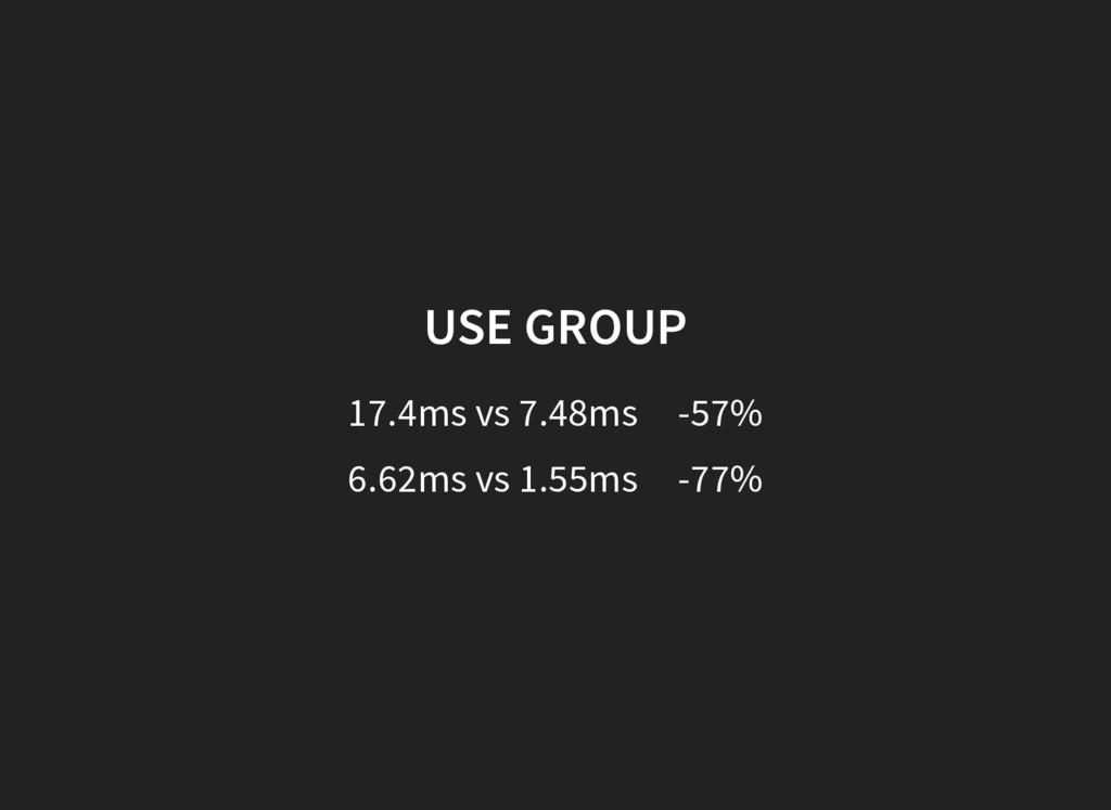 USE GROUP 17.4ms vs 7.48ms -57% 6.62ms vs 1.55m...
