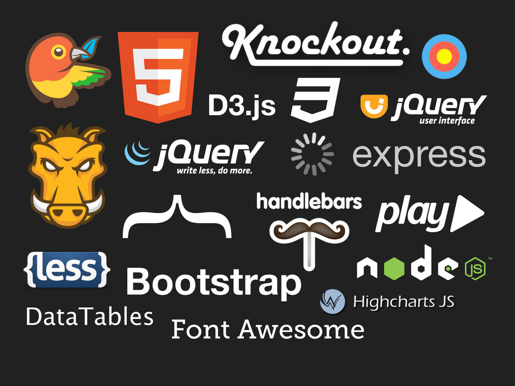 Bootstrap DataTables express { D3.js Font Aweso...