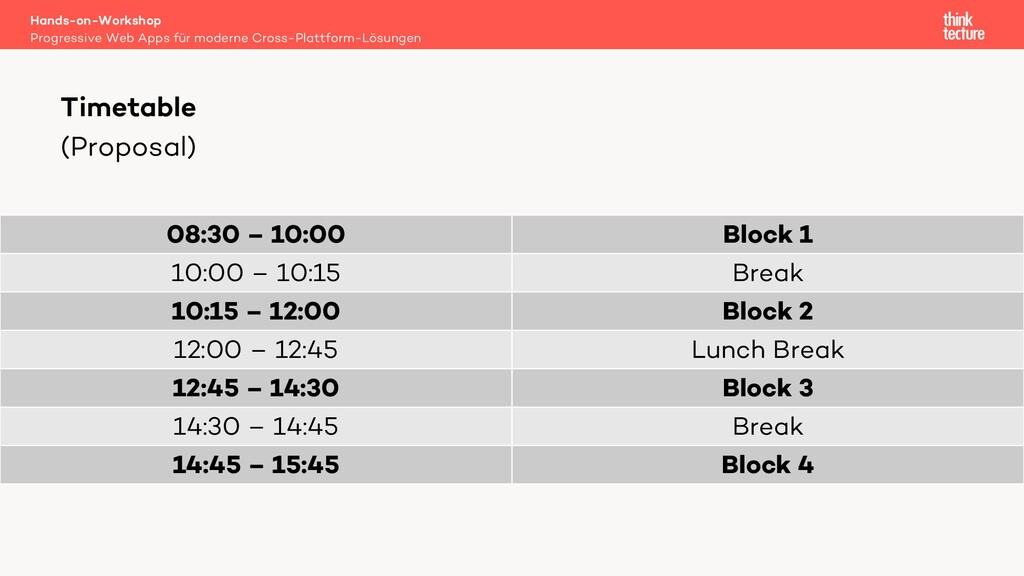 (Proposal) 08:30 – 10:00 Block 1 10:00 – 10:15 ...