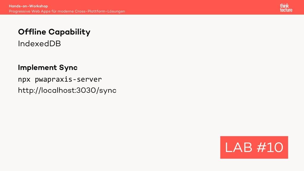 IndexedDB Implement Sync npx pwapraxis-server h...