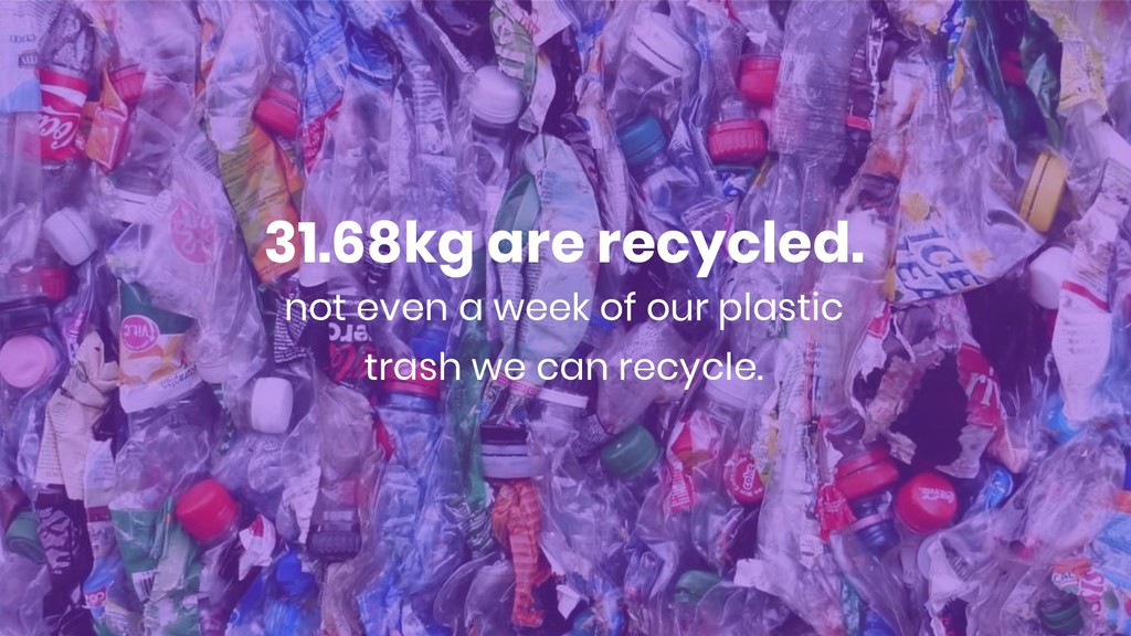 31.68kg are recycled. not even a week of our pl...