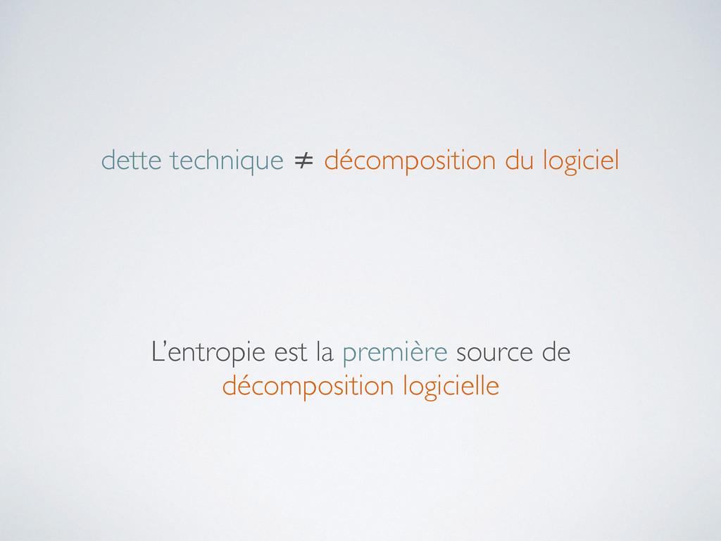 dette technique ≠ décomposition du logiciel L'e...