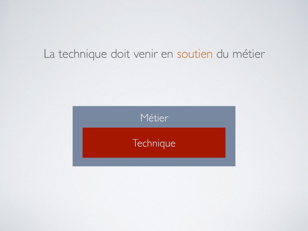 Métier Technique La technique doit venir en sou...