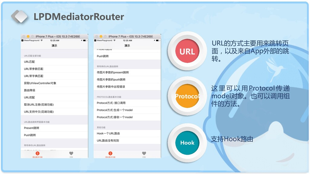 URL Protocol Hook LPDMediatorRouter URL的方式主要用来跳...