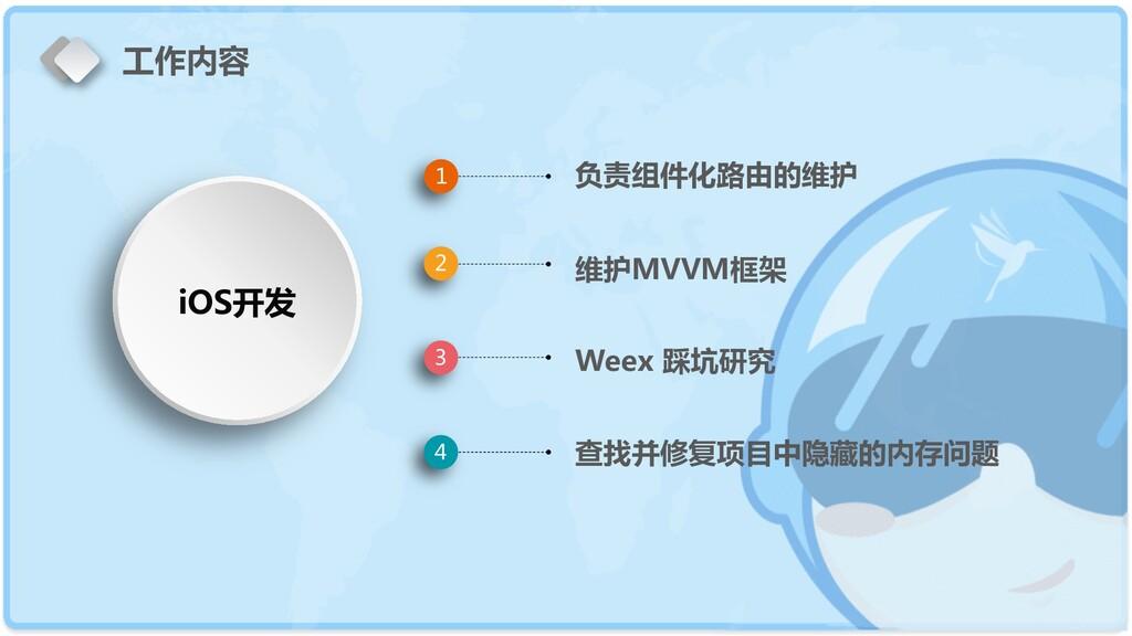 负责组件化路由的维护 维护MVVM框架 Weex 踩坑研究 查找并修复项目中隐藏的内存问题 1...