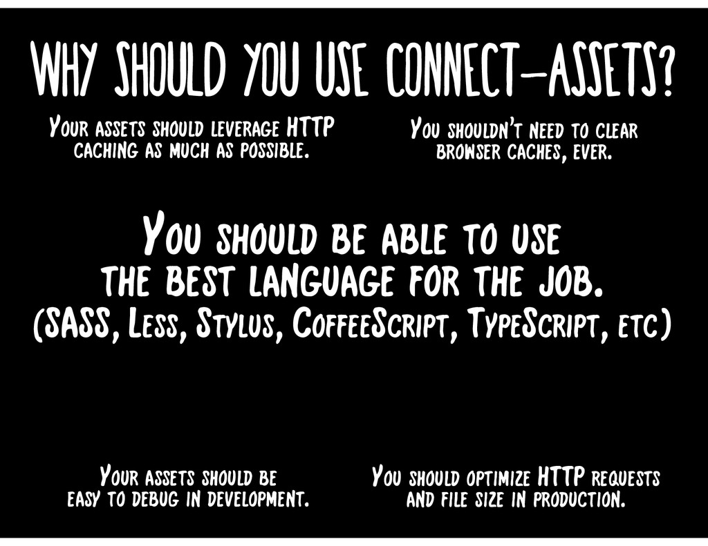 Why should you use connect-assets? Your assets ...