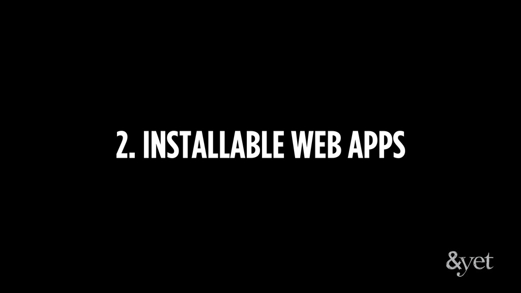 2. INSTALLABLE WEB APPS