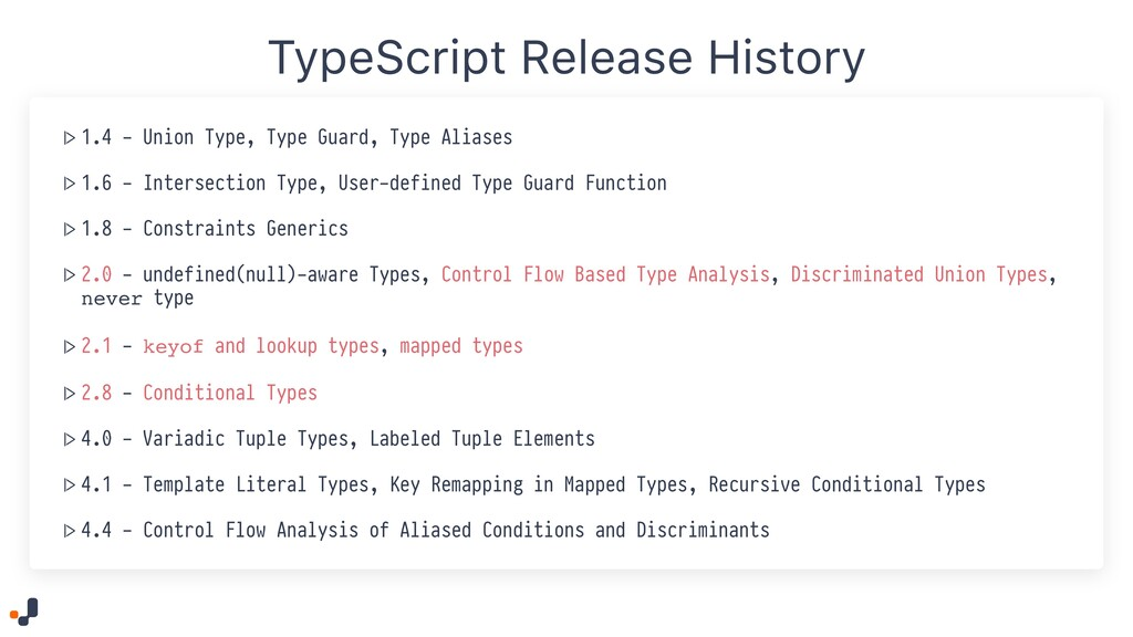 TypeScript Release History  > 1.4 - Union Type,...