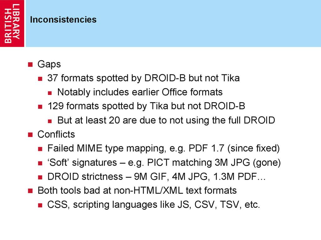 Inconsistencies  Gaps  37 formats spotted b...