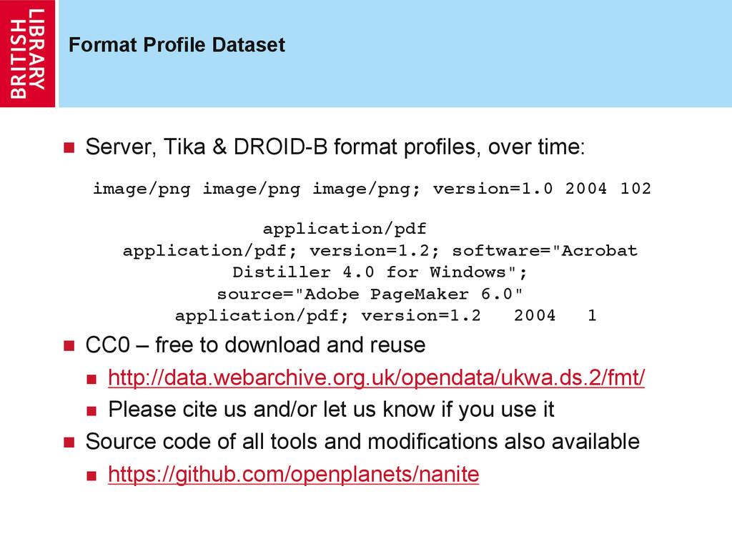 Format Profile Dataset  Server, Tika & DROID-...
