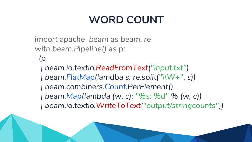 WORD COUNT import apache_beam as beam, re with ...