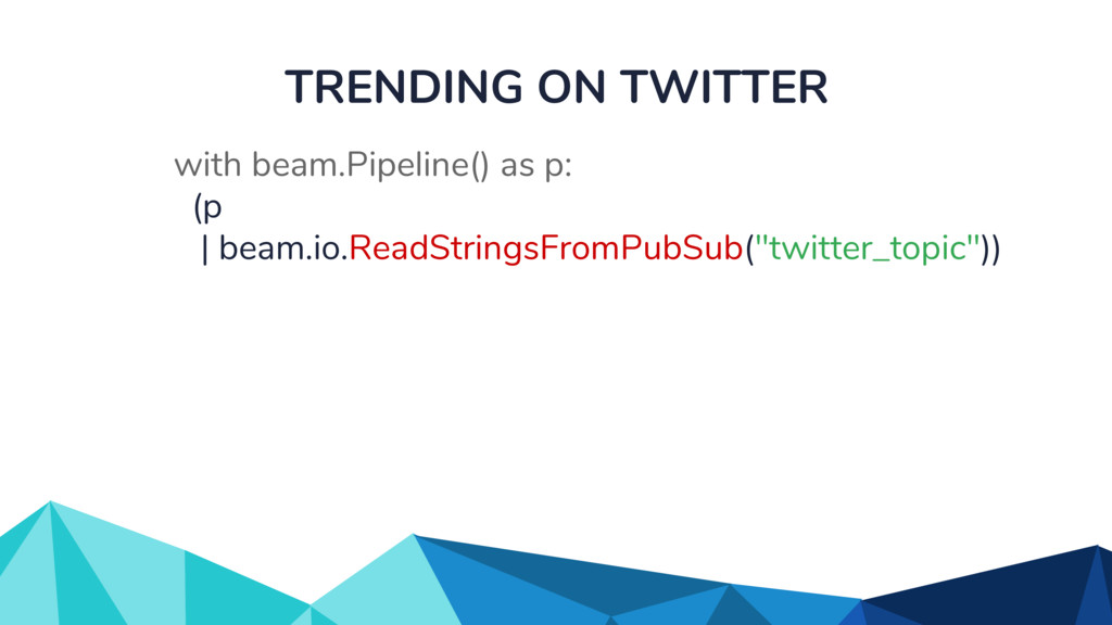TRENDING ON TWITTER with beam.Pipeline() as p: ...