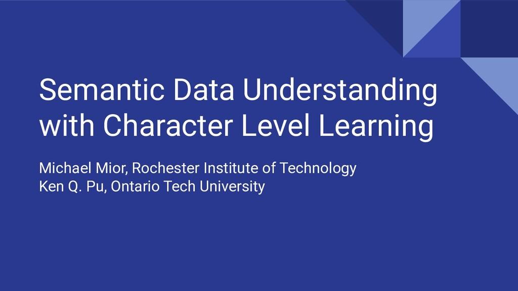 Semantic Data Understanding with Character Leve...
