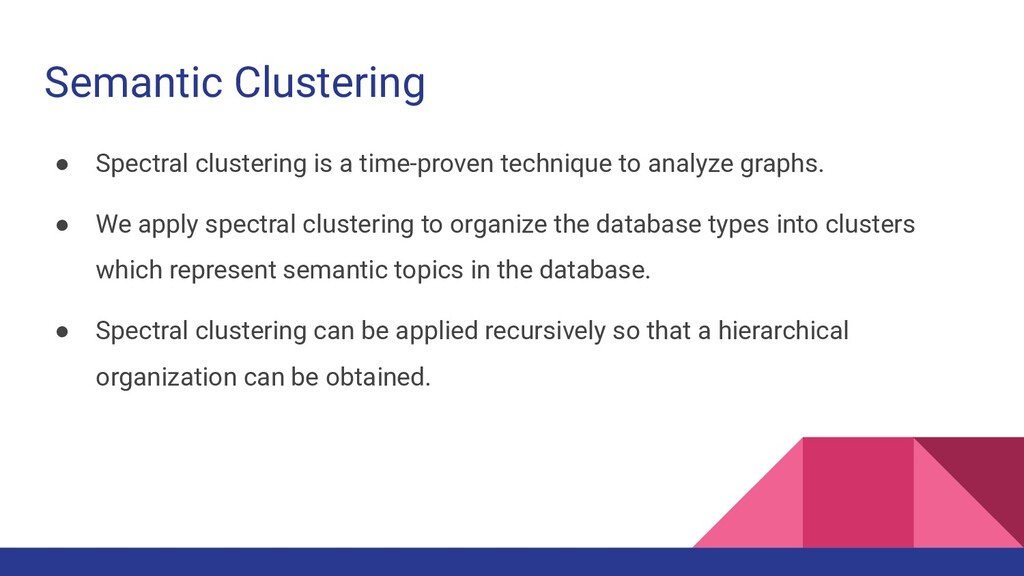 Semantic Clustering ● Spectral clustering is a ...