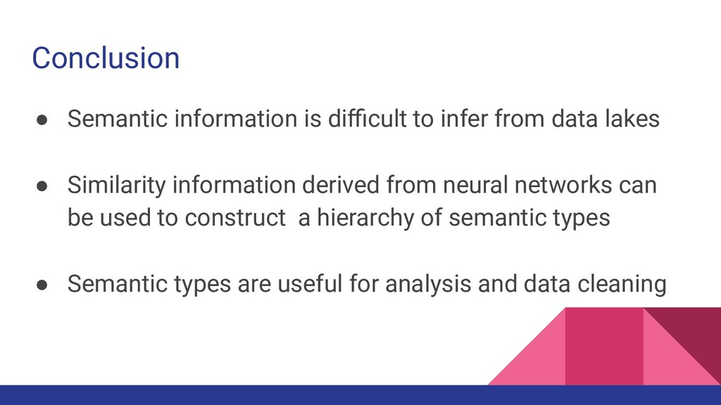 Conclusion ● Semantic information is difficult to...