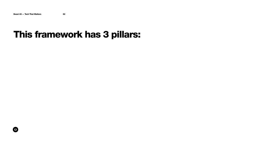 This framework has 3 pillars: Boost #8 — Tech T...