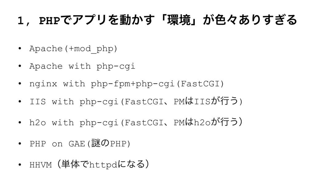 1, PHPͰΞϓϦΛಈ͔͢ʮڥʯ͕৭ʑ͋Γ͗͢Δ • Apache(+mod_php) •...